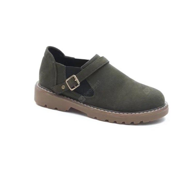 GREEN 36 W-Y6 Round Buckle Buckle Fashion Women'S Sole Shoes