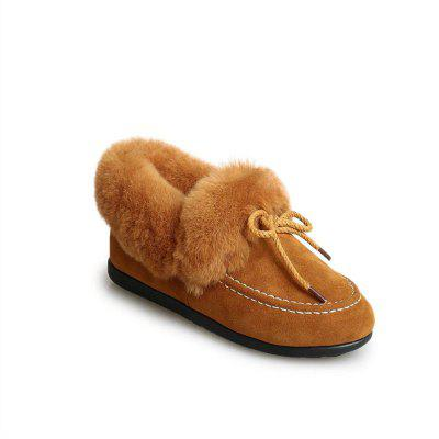 BNY-A687 Beanie Winter Shoes All-Match Wool Plush Pedal Female Student Small Flat Shoes