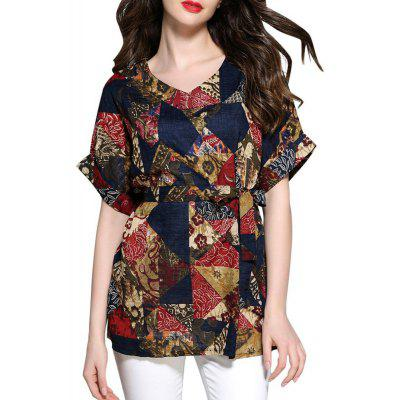Imprimer Blouse Casual Loose Belt