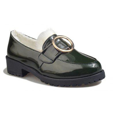 Autumn and Winter New Patent Leather Plus Cashmere Shoes