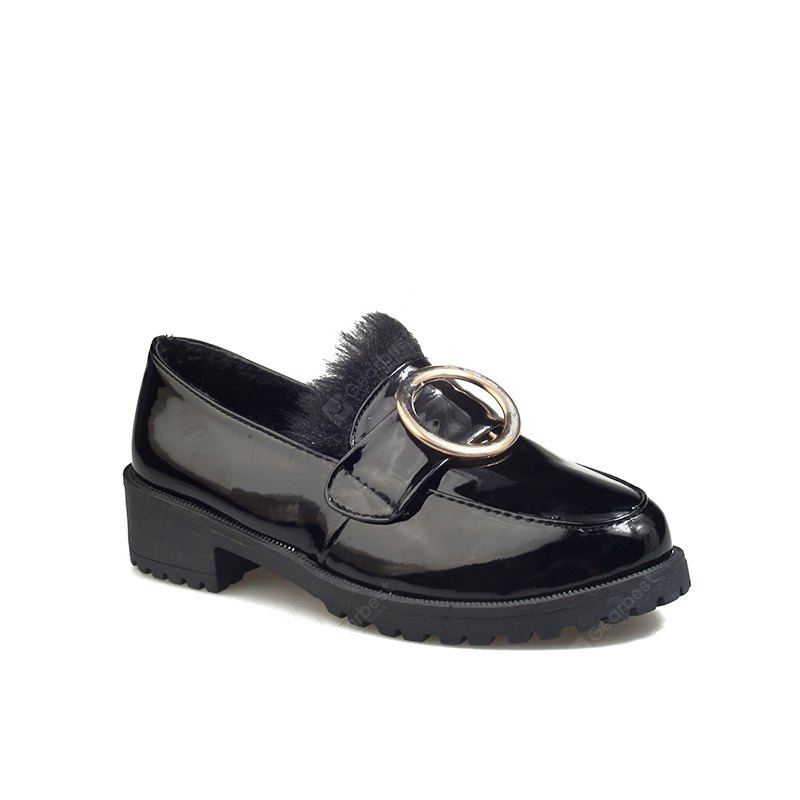 BLACK 35 Autumn and Winter New Patent Leather Plus Cashmere Shoes