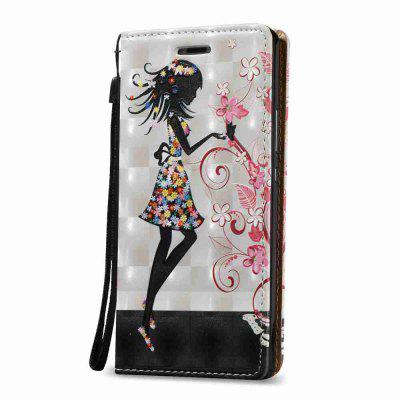 New Style Magnetic 3D Embossed Painted Pu Phone Case  for HUAWEI P9 Lite