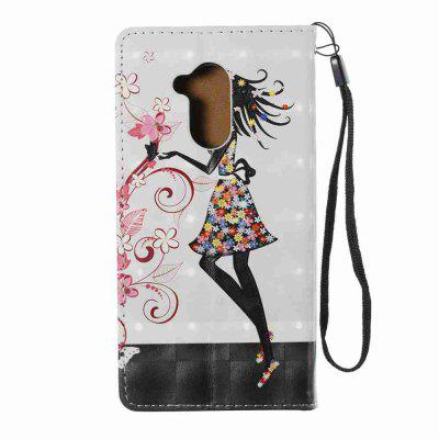 New Style Magnetic 3D Embossed Painted Pu Phone Case for HUAWEI 6S / 6C