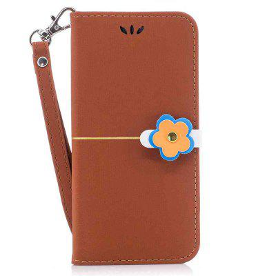 Gold Velvet Plum Blossom Head Pu Phone Case for iPhone 6 / 6S