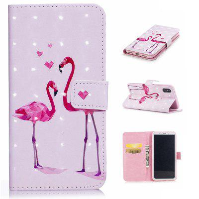 For iPhone X 3D Flamingo Pattern Varnishing Process Wallet Card Holder with Stand PU Leather Material Phone Case