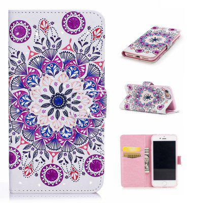 For iPhone 7 / 8 3D Mandala Pattern Varnishing Process Wallet Card Holder with Stand PU Leather Material Phone Case