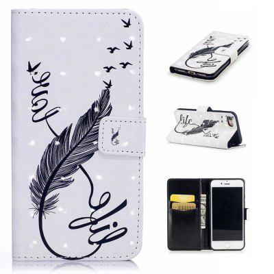For iPhone 7 / 8 3D Feather Pattern Varnishing Process Wallet Card Holder with Stand PU Leather Material Phone Case