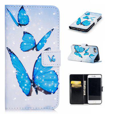 For iPhone 7 / 8 3D Butterfly Pattern Varnishing Process Wallet Card Holder with Stand PU Leather Material Phone Case