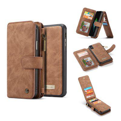 CaseMe Genuine Leather Cowhide Holster Wallet Case with Super Magnetic Detachable Back Cover for iPhone X
