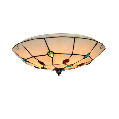 Brightness Diameter 40cm Tiffany Ceiling Light Glass Shade Living Dining Room Bedroom Flush Mount XD006