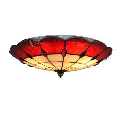 Brightness Diameter 40cm Tiffany Ceiling Light Glass Shade Living Dining Room Bedroom Flush Mount XD007