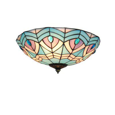 Brightness Diameter 40cm Tiffany Ceiling Light Glass Shade Living Dining Room Bedroom Flush Mount XD009