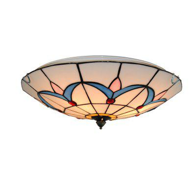 Brightness Diameter 40cm Tiffany Ceiling Light Glass Shade Living Dining Room Bedroom Flush Mount XD010