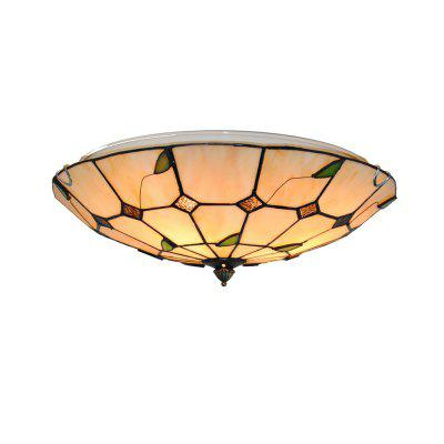 Brightness Diameter 40cm Tiffany Ceiling Light Glass Shade Living Dining Room Bedroom Flush Mount XD012