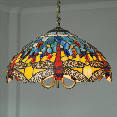 Brightness Diameter 40cm Retro Tiffany Pendant Lights Glass Shade for Bedroom Living Dining Kids Room DD021