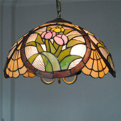 Brightness Diameter 40cm Retro Tiffany Pendant Lights Glass Shade for Bedroom Living Dining Kids Room DD024