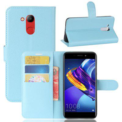 Buy BLUE Solid Color Litchi Pattern Wallet Style Front Buckle Flip Pu Leather Case with Card Slots for Huawei Honor V9 Play for $4.59 in GearBest store