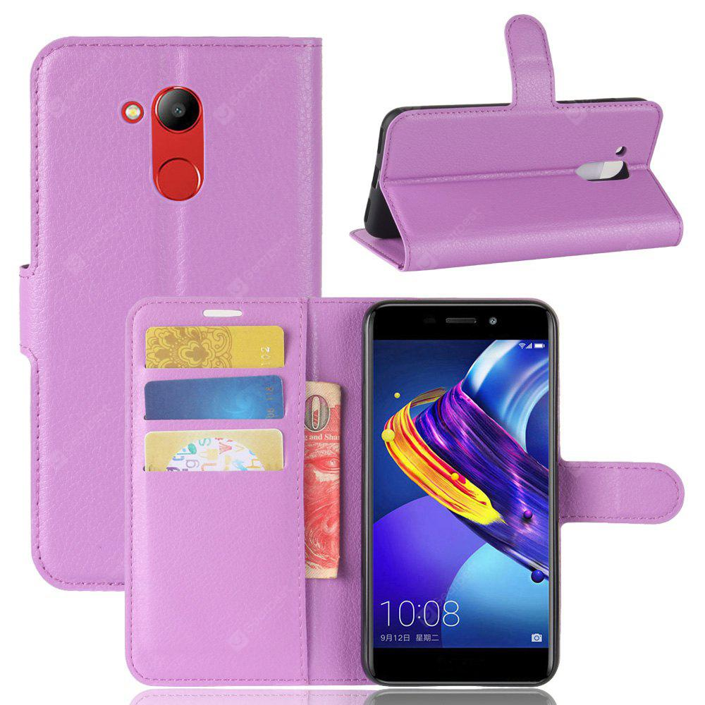 PURPLE Solid Color Litchi Pattern Wallet Style Front Buckle Flip Pu Leather Case with Card Slots for Huawei Honor V9 Play