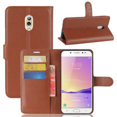 Solid Color Litchi Pattern Wallet Style Front Buckle Flip Pu Leather Case with Card Slots for Samsung Galaxy C7 2017