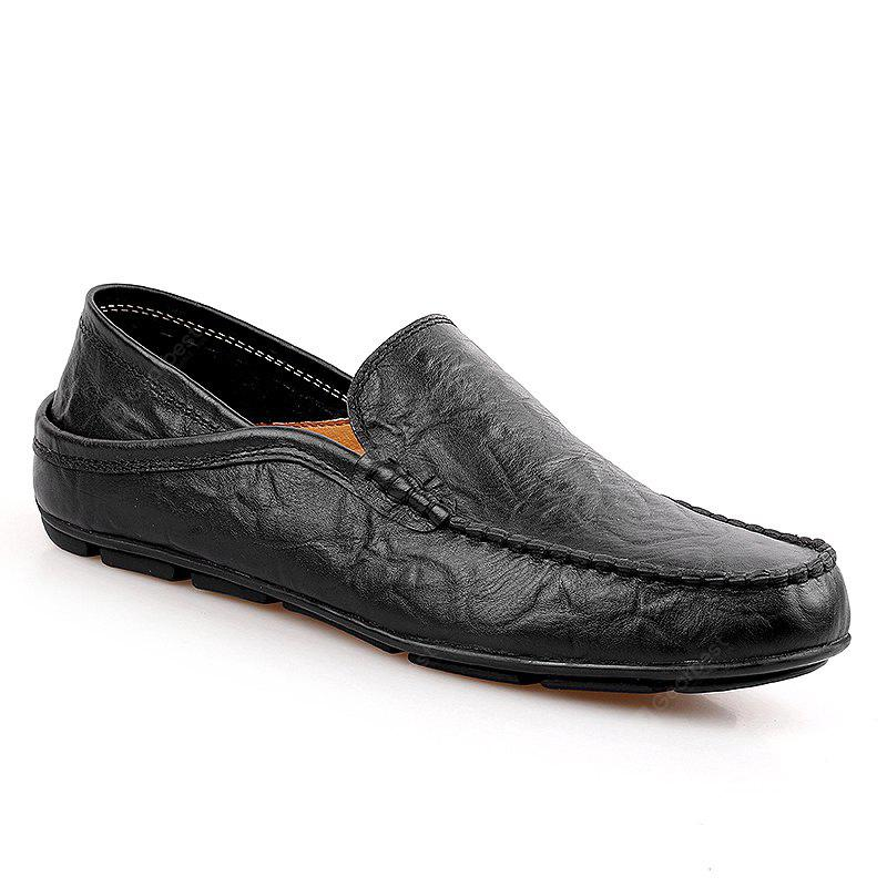 Men Loafers Spring Autumn Mens Moccasins Shoes Genuine Leather Men'S Flats Shoes 42 BLACK