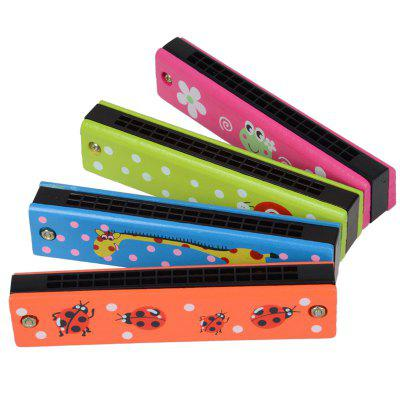 Wooden Colored Painted Harmonica 4PCS for Children