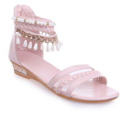 Plain Heel Clip Sandals Metal Tassels