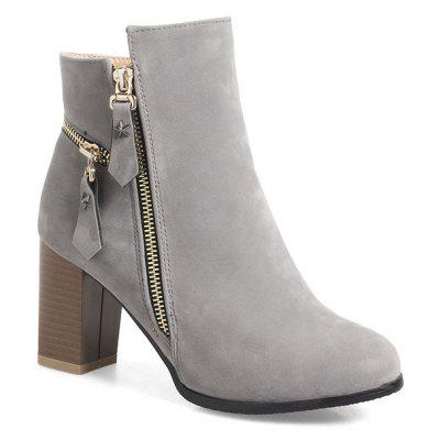 Buy GRAY 37 Women's Thick-Heeled Ankle Boots Zipper All Match Boots for $43.20 in GearBest store