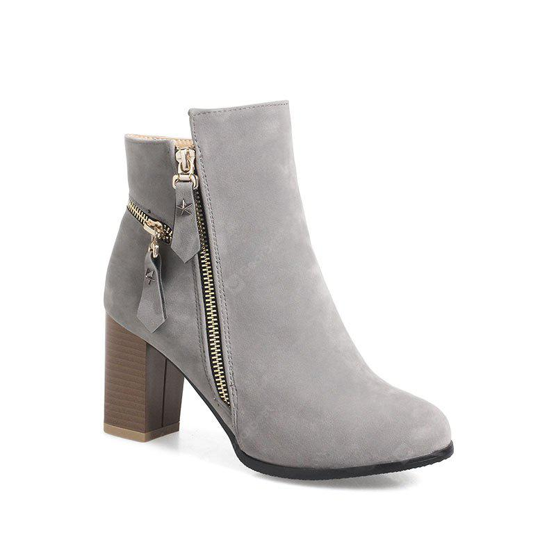 GRAY 35 Women's Thick-Heeled Ankle Boots Zipper All Match Boots