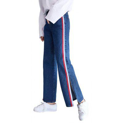 Blue Leg of Trouser Split Wide-Legged Jeans Pants Female