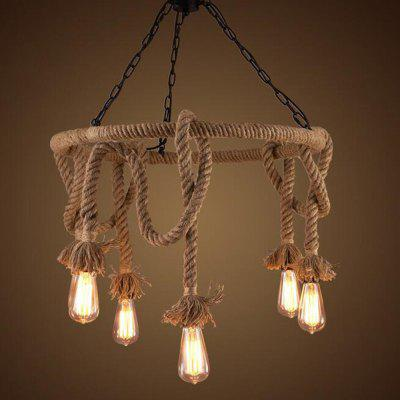 Buy BROWN MS 12 Nordic Hemp Rope Chandelier Retro Creative Dangling Lamp Vintage Pendant Light Fixture for $146.47 in GearBest store