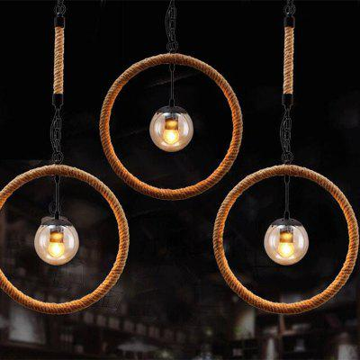 Buy BROWN MS 13 Nordic Hemp Rope Chandelier Retro Antique Dangling Lamp Pendant Light Fixture for Restaurant Coffee Kitchen for $82.55 in GearBest store