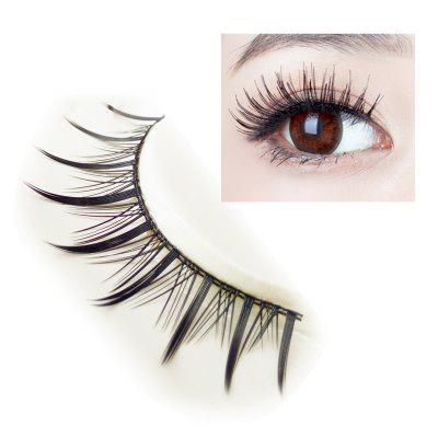 Pair of Black Cosmetic Natural Long Cross Dense False Eyelashes