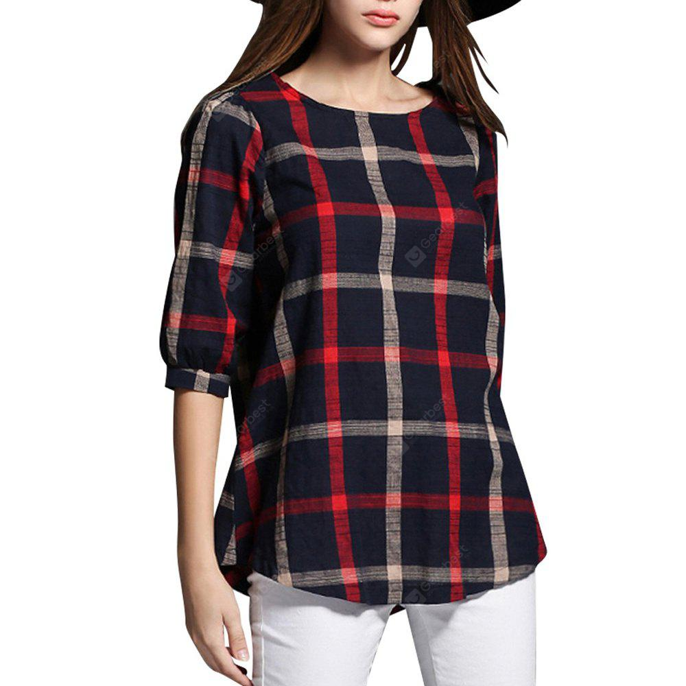 Plus Size Half Sleeve Plaid T-Shirt for Women Top