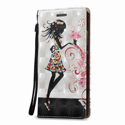 New Style Magnetic 3D Embossed Painted Pu Phone Case for HUAWEI P8 Lite