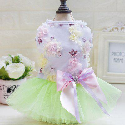 Lovoyager DB1001 Summer Pet Dress Tutu Princess Lace Wedding Clothing Candy Bow Skirt for Small Dogs Teddy Clothing