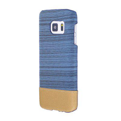 Buy BLUE Wkae Jeans Canvas Leather Back Case Cover for Samsung Galaxy S7 for $5.28 in GearBest store
