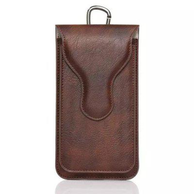 Wkae Double Pockets Phone Pouch Holster Bag PU Leather Case with Carabiner Hook and Loop Belt 5.1 - 5.5 inch