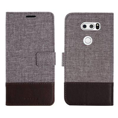 MUXMA Durable Canvas Design Flip PU Leather Wallet Case for LG V30