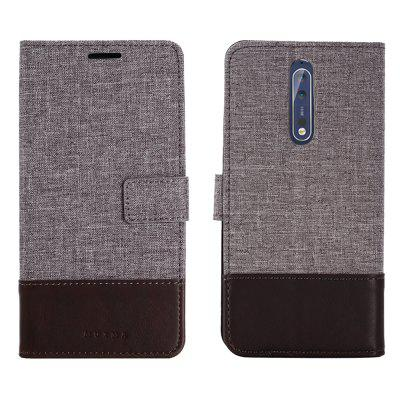 MUXMA Durable Canvas Design Flip PU Leather Wallet Case for Nokia 8