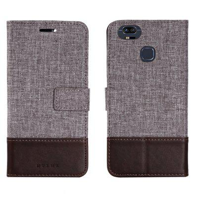 MUXMA Durable Canvas Design Flip PU Leather Wallet Case for ASUS Zenfone 3 Zoom 5.5 inch (ZE553KL)