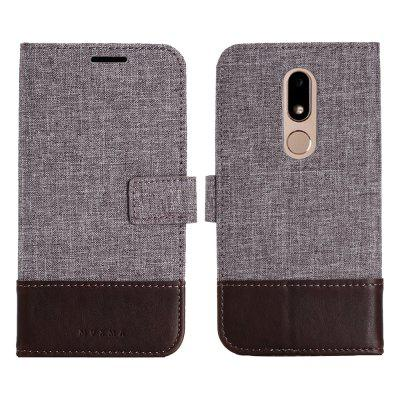 MUXMA Durable Canvas Design Flip PU Leather Wallet Case for Motorola Moto M