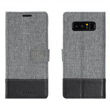 Durable Canvas Design Flip PU Leather Wallet Case for Samsung Galaxy Note 8