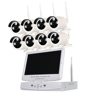 8 Channel 960P Wireless Nvr Kit 10.1 Inch Lcd Wifi Nvr 8 x 1.3MP Wifi Ip Camera with Night Vision