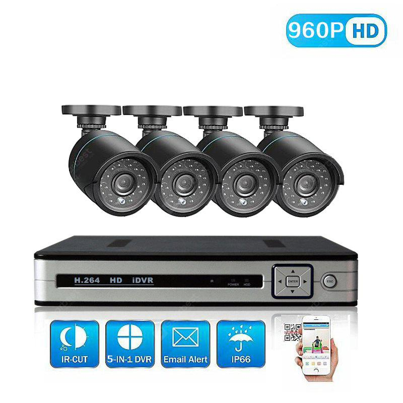 4 Channel Security Camera System with 4CH 1080N Ahd Dvr 4 × 1.3MP Weatherproof Camera with Night Vision.