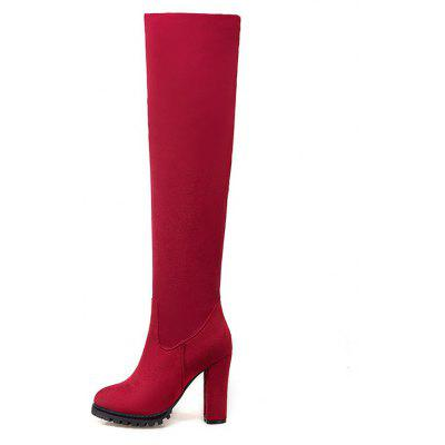 The New Style of Thick and High Fashion Show Thin Ladies BootsWomens Boots<br>The New Style of Thick and High Fashion Show Thin Ladies Boots<br><br>Boot Height: Over-the-Knee<br>Boot Tube Height: 50<br>Boot Type: Fashion Boots<br>Closure Type: Zip<br>Gender: For Women<br>Heel Height: 10<br>Heel Height Range: High(3-3.99)<br>Heel Type: Chunky Heel<br>Outsole Material: Rubber<br>Package Contents: 1 x Shoes?pair?<br>Pattern Type: Solid<br>Season: Spring/Fall, Winter<br>Toe Shape: Round Toe<br>Upper Material: Flock<br>Weight: 1.2320kg