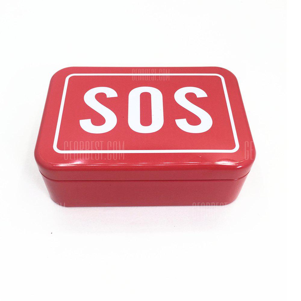 RED WITH WHITE SOS Outdoor Camping Multifunctional Tool Box for Survival 6pcs