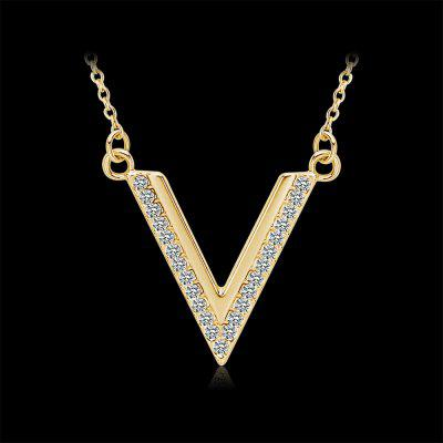 18K Gold V Necklace with Austria Crystal Sweater Chain for WomenNecklaces &amp; Pendants<br>18K Gold V Necklace with Austria Crystal Sweater Chain for Women<br><br>Gender: For Women<br>Item Type: Pendant Necklaces<br>Length of Chain: 40 cm<br>Material: Alloy<br>Metal Type: Zinc Alloy<br>Necklace Type: Snake Chain<br>Package Contents: 1 x Necklace<br>Package size (L x W x H): 36.00 x 26.00 x 24.00 cm / 14.17 x 10.24 x 9.45 inches<br>Package weight: 0.0300 kg<br>Shape/Pattern: Letter<br>Size of Pendant: 1.8 x 1.7 cm<br>Stone Color: Silver,Golden<br>Style: Classic<br>Surface Plating: Silver Plated<br>Weight: 4.4928kg<br>Width: 0.4 cm