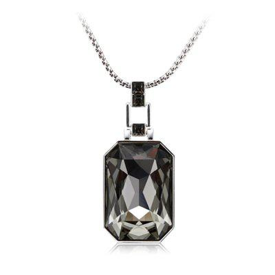 Buy BLACK + SILVER White Gold Black Diamond Solitaire Pendant Necklace Sweater Chain for $83.32 in GearBest store
