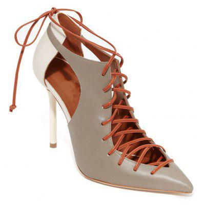 Women's Shoes Leatherette Summer Gladiator Basic Pump Heels Stiletto Heel Pointed Toe Split Joint Lace-Up