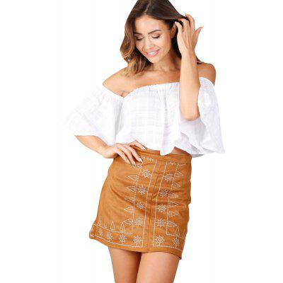 Buy BROWN M Symmetrical Embroidery Suede Wrap Hip Skirt for $13.74 in GearBest store